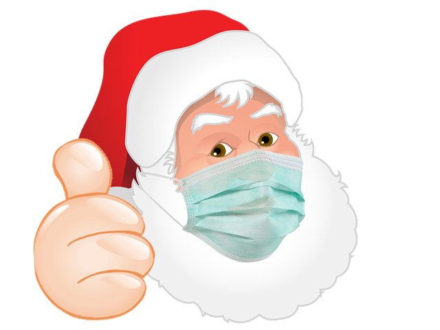Weihnachtsmann mit Mundschutz-Maske