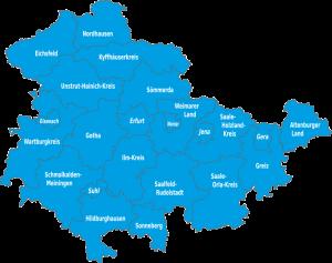 Übersichtskarte - Kreisorganisationen in Thüringen